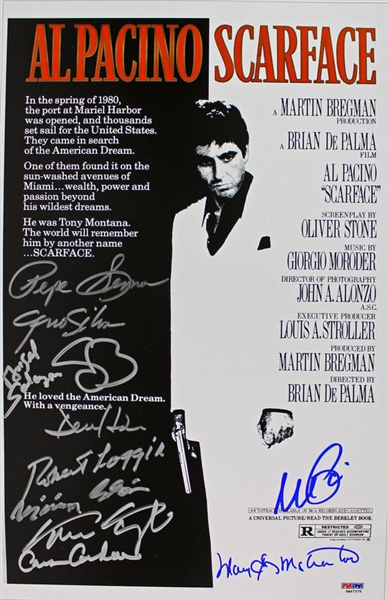 Scarface Phenomenal Cast Signed 11 x 17 Movie Poster with Pacino, Bauer, Loggia, etc. (11 Sigs)(PSA/DNA w/Pacino ITP)