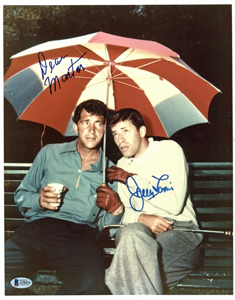 Dean Martin & Jerry Lewis Signed 11 x 14 Color Photo (Beckett/BAS)