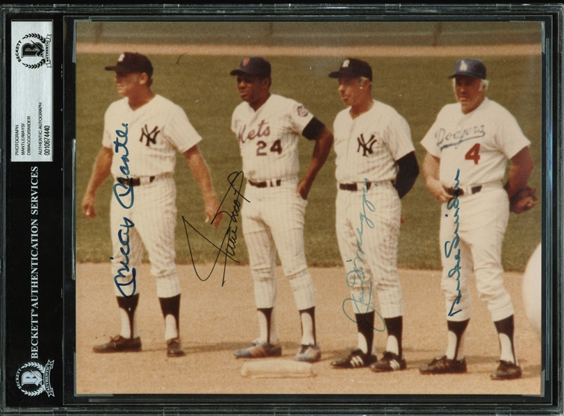 MLB Legends Multi-Signed 8 x 10 Photograph w/ DiMaggio, Mantle, Mays & Snider! (BAS/Beckett Encapsulated)