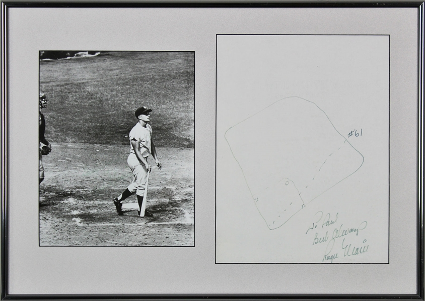 Roger Maris RARE Hand-Drawn & Signed 61st Home Run Sketch (PSA/DNA)