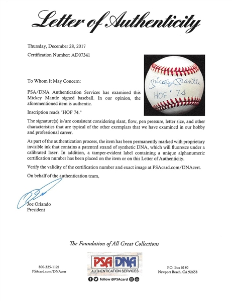 Mickey Mantle Signed OAL Baseball with HOF '74 Inscription (PSA/DNA)