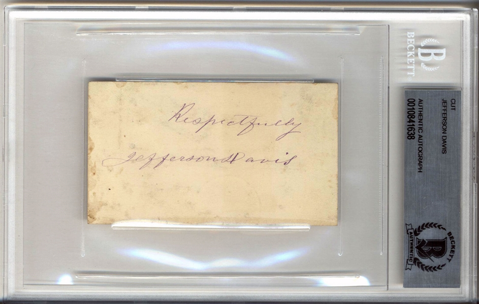 Jefferson Davis Signed Sheet with Choice Autograph (BAS/Beckett Encapsulated)