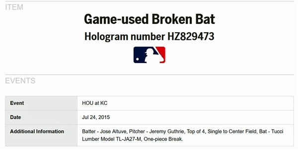 2015 Jose Altuve Game Used Tucci Lumber Bat - Used for RBI Base Hit - With Exact Photo Match! (MLB)