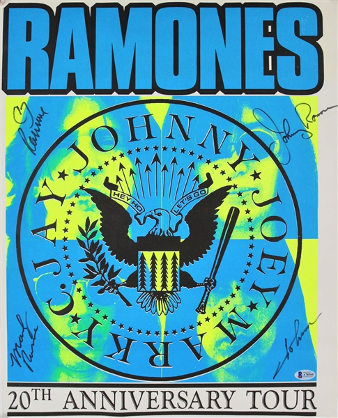 The Ramones Group Signed 16 x 20 20th Anniversary Tour 1994 Concert Poster (Beckett/BAS)