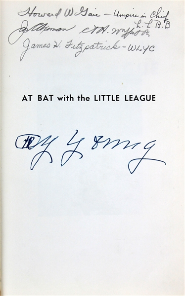 Cy Young Signed At Bat With the Little League Hardcover Book (PSA/DNA Graded MINT 9)
