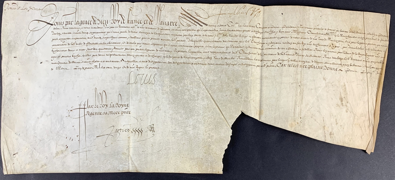 King Louis XIII Signed Document from 1610 - His First Year as King! (Beckett/BAS LOA)