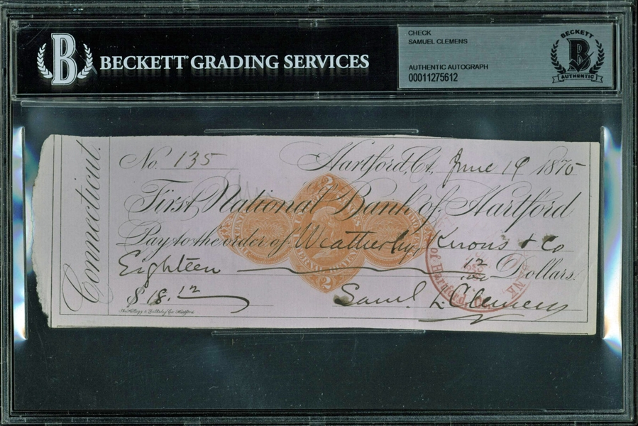 Samuel L. Clemens (Mark Twain) Signed Personal Bank Check (Beckett/BAS Encapsulated)
