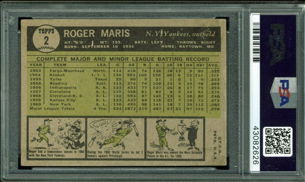 Roger Maris Signed 1961 Topps #2 Card (PSA/DNA Encapsulated)