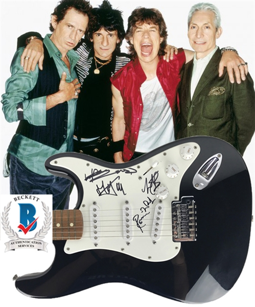 The Rolling Stones Group Signed Fender Stratocaster Guitar w/Jagger, Richards, Wood & Watts! (Beckett/BAS LOA)