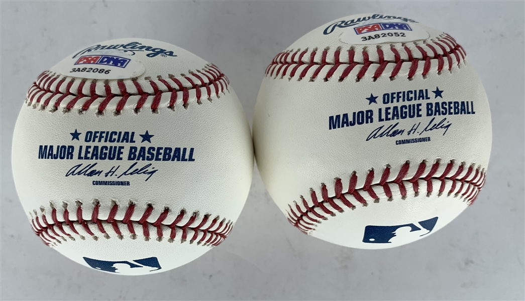 Stan Musial Lot of Two (2) Signed OML Baseballs (PSA/DNA)