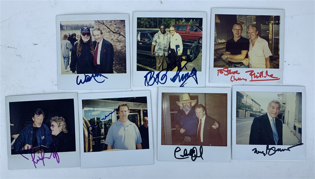 Music Icons Lot of Seven (7) Signed 3.5 x 3.5 Photographs w/ Willie Nelson, BB King & Others! (Beckett/BAS Guaranteed)