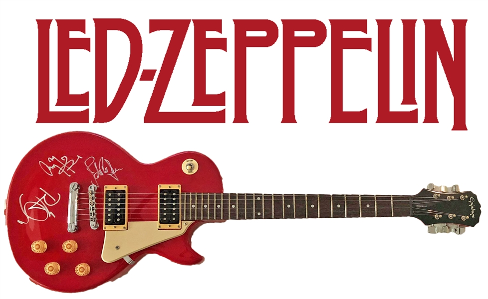 Led Zeppelin Group Signed Guitar w/ ULTRA-RARE On The Body Signatures - One of the Only Known Examples! (Epperson/REAL LOA)