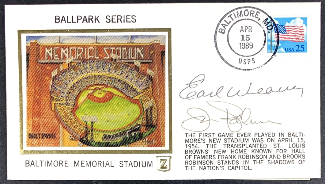 Orioles Greats Signed Commemorative Cachet Cover with Earl Weaver & Jim Palmer (Beckett/BAS Guaranteed)