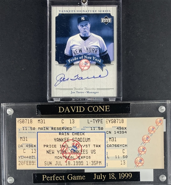 Yankee Greats Lot with Joe Torre Signed Card & David Cone Perfect Game Ticket! (Beckett/BAS Guaranteed)