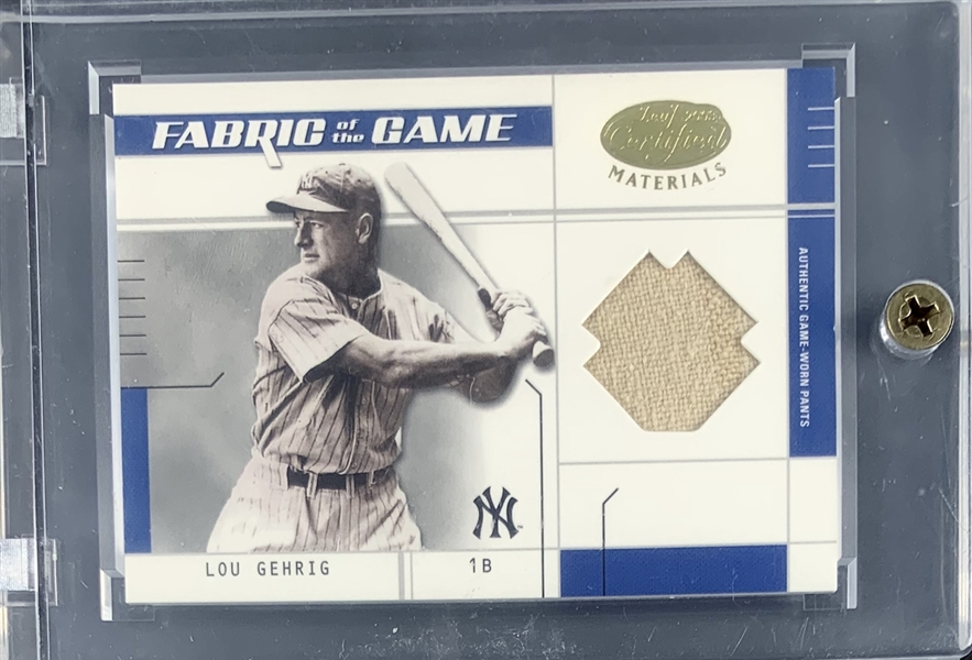 2003 Lou Gehrig Leaf Certified Fabric of the Game Limited Edition Card with Game Worn Pants Swatch!