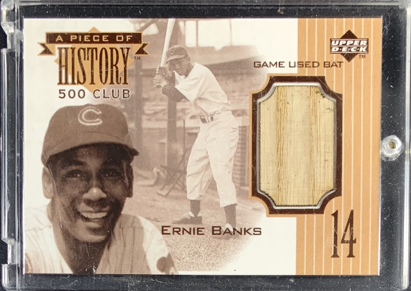 1999 Ernie Banks Upper Deck A Piece of History Relic Card with Game Used Bat Segment!