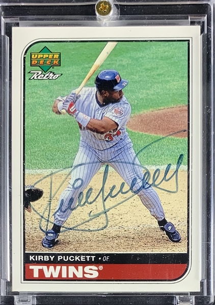 Kirby Puckett Signed 1998 Upper Deck Retro Sign of the Times Special Insert Card (Beckett/BAS Guaranteed)