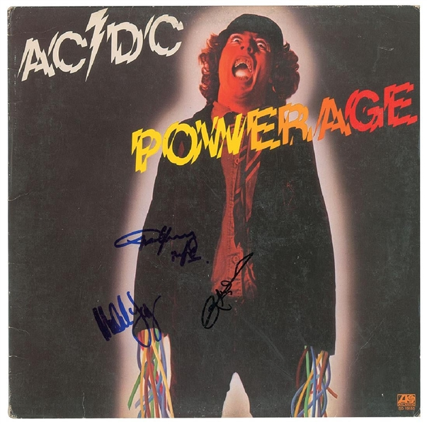 AC/DC Group Signed Powerage Record Album with Angus, Malcolm & Cliff (John Brennan Collection)(Beckett/BAS Guaranteed)