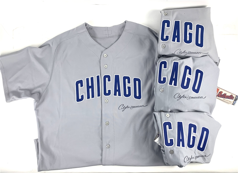 Andre Dawson: Lot of Four (4) Signed Chicago Cubs Jerseys (Beckett/BAS Guaranteed)