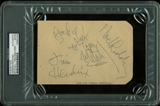"Jimi Hendrix Experience: Jimi Hendrix, Noel Redding & Mitch Mitchell Near-Mint Signed 4"" x 6"" Album Page (PSA/DNA Encapsulated)"