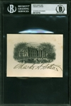 Chester A. Arthur Near-Mint Signed White House Engraving Card (Beckett/BAS Encapsulated)