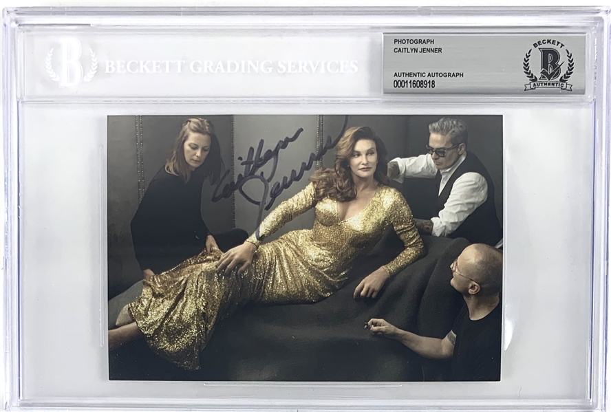 Caitlyn (Bruce) Jenner: Lot of Two (2) Signed 4 x 6 Color Photos (Beckett/BAS Encapsulated)