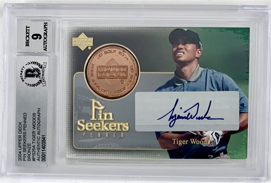 Tiger Woods Signed 2004 Upper Deck Pin Seekers Penned Autographed Insert Card with Beckett/BAS MINT 9 Autograph!