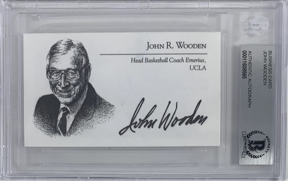 John Wooden Signed Personal Business Card (Beckett/BAS Encapsulated)