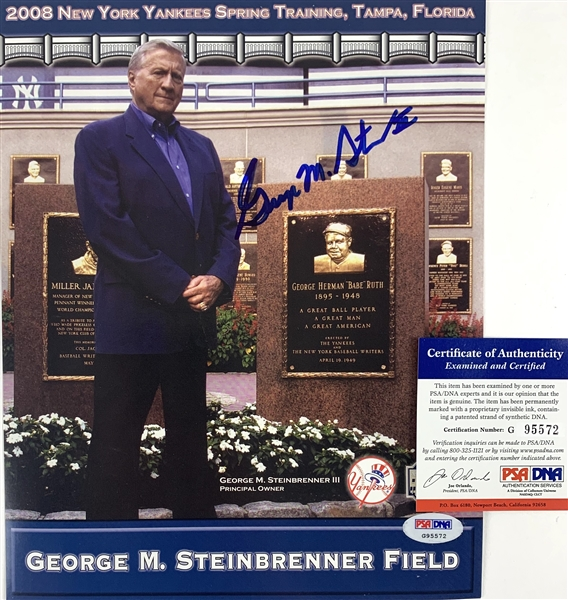 Yankees: George Steinbrenner Signed 8 x 10 Promotional Cardstock Photo (PSA/DNA)