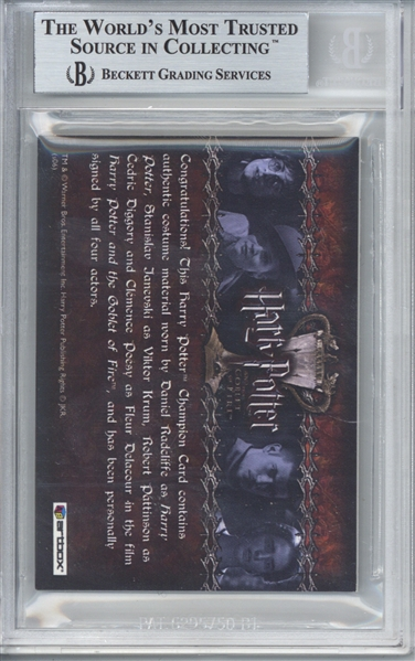 2006 Goblet of Fire Multi-Signed Quad Card w/ Radcliffe, Pattinson & Others! (Beckett/BAS Encapsulated)