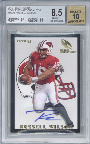 Russell Wilson Signed 2012 Fleer Retro Rookie Sensations Card Beckett/BGS 8.5 w/ 10 Auto!