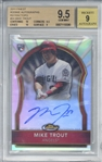 Mike Trout Signed 2011 Topps Finest #84 Refractors Rookie Card Beckett/BGS 9.5 w/ 9 Auto!