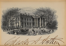 "President Chester A. Arthur Signed 3.5"" x 4.5"" White House Engraveing (Beckett/BAS)"