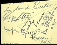 "The Beatles Group Signed 3"" x 4.5"" Vintage Album Page w/ All Four Members! (REAL/Epperson)"