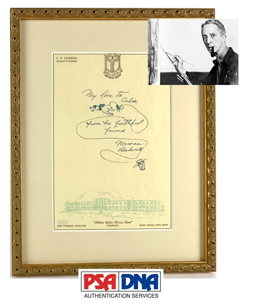 Norman Rockwell ULTRA-RARE Hand Drawn & Signed Sketch on Personal Letterhead (PSA/DNA)