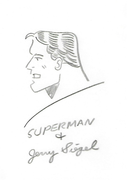 Jerry Siegel Rare 5 x 7 Signed & Hand Drawn Superman Sketch! (JSA)