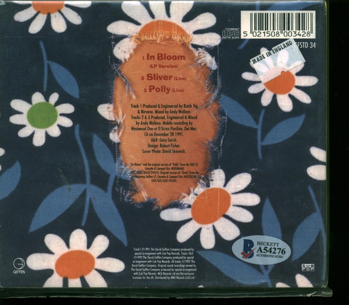 Nirvana Group Signed In Bloom CD Single w/ Cobain, Krist & Grohl! (John Brennan Collection)(Beckett/BAS)