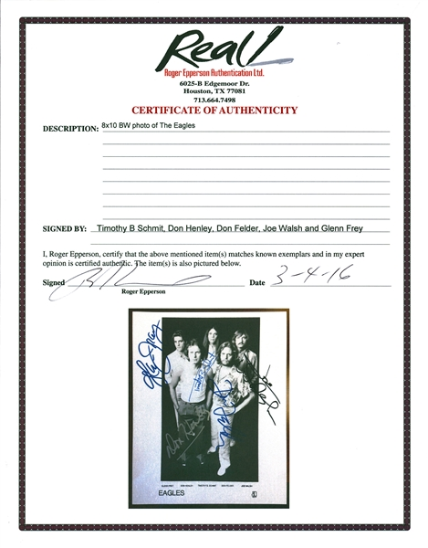 The Eagles Group Signed 8 x 10 Promotional Asylum Photograph w/ All Five Members! (REAL/Epperson)