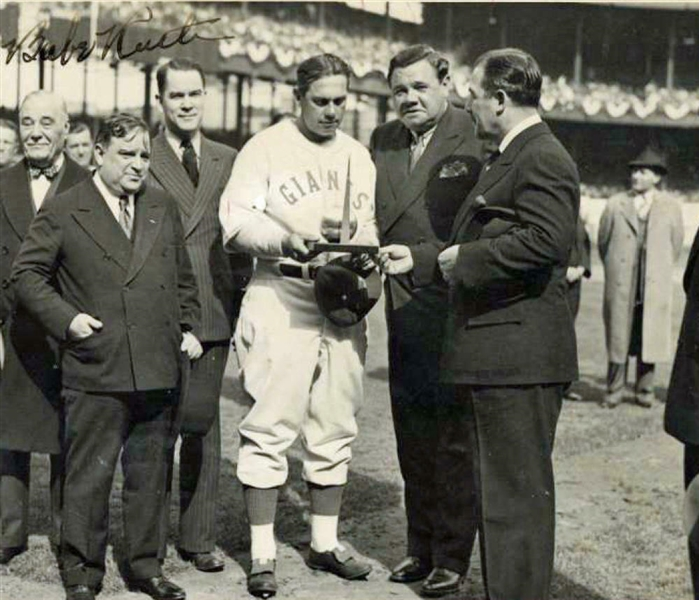 Babe Ruth Signed 7 x 10.5 Photograph from 1938 Opening Day (PSA/DNA)