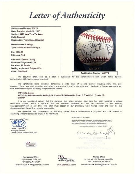 1995 New York Yankees ULTRA-RARE Team Signed Baseball w/ Rookie Rivera & Jeter! (JSA)