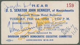 EXTRAORDINARILY RARE John F. Kennedy, Robert F. Kennedy & Jackie Kennedy Multi-Signed Ticket - The Only One Known to Exist! (Beckett/BAS)