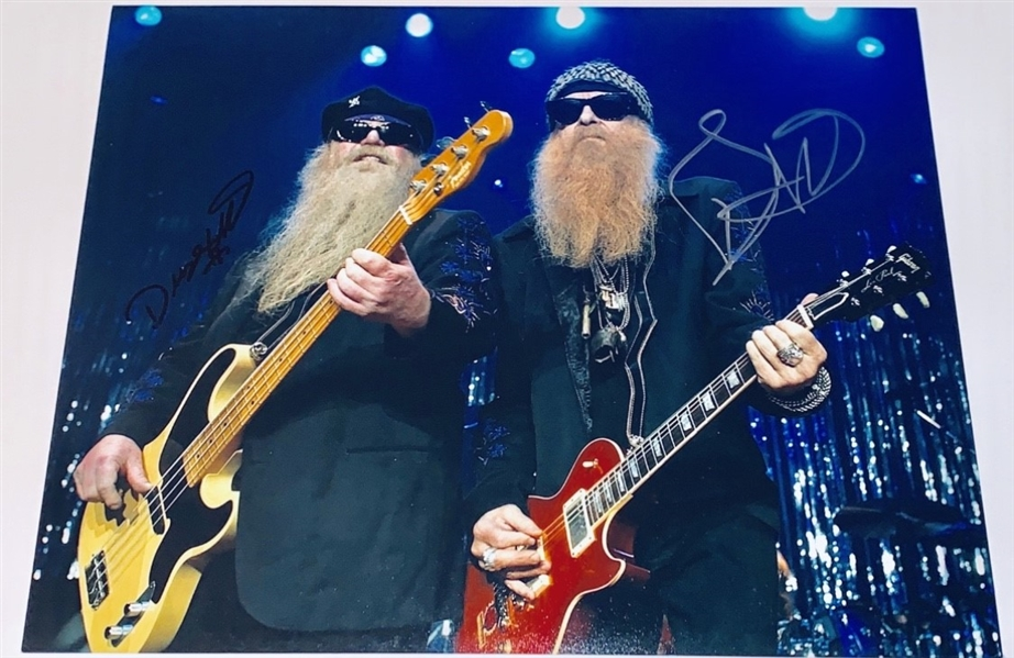 ZZ Top: Billy Gibbons & Dusty Hill Dual-Signed 11 x 14 On-Stage Photograph (ACOA)