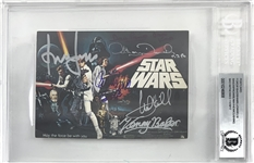 "Episode IV – A New Hope Cast Signed 4"" x 6"" Postcard w/ Ford, Fisher & ULTRA-RARE Peter Cushing! (Beckett/BAS Encapsulated)"