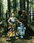 "ROTJ: Harrison Ford, Carrie Fisher, Kenny Baker, Mark Hamill & Anthony Daniels Signed 8"" x 10"" Endor Photograph (Beckett/BAS Guaranteed)"