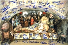 "ROTJ: Jabbas Palace Cast Signed 16"" x 24"" Color Photo with 39 Autographs from Cast & Crew! (Beckett/BAS Guaranteed)"