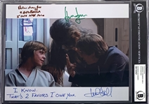 "The Empire Strikes Back: Harrison Ford, Mark Hamill & Peter Mayhew Signed 8"" x 10"" Color Photo with Two RARE Inscriptions! (Beckett/BAS Encapsulated)(Steve Grad Collection)"