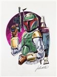 "Boba Fett: Joe Johnston Rare & Desirable Hand Drawn and Signed 11"" x 14"" Color Sketch (Johnston COA)(Beckett/BAS Guaranteed)(Steve Grad Collection))"