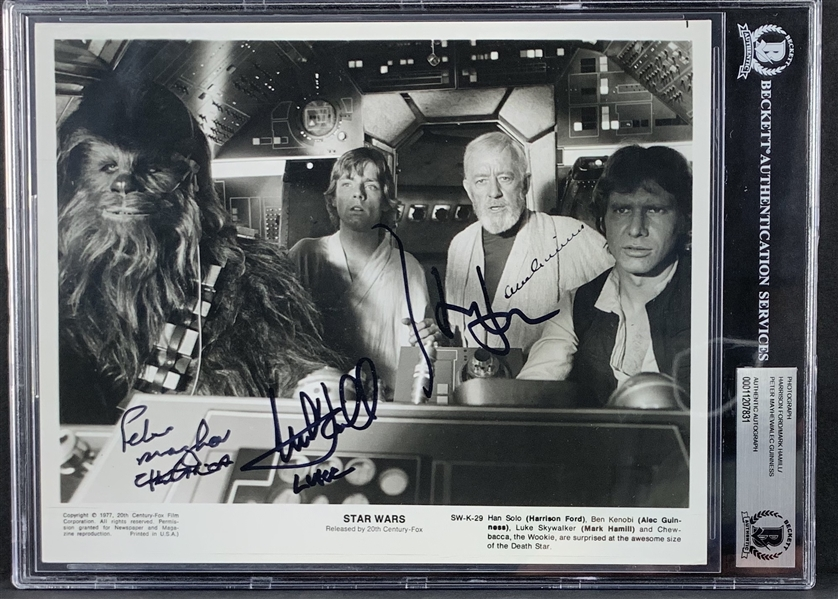 A New Hope: Original Press Photo from Famed Cockpit Scene with Guinness, Ford, Hamill & Mayhew (Steve Grad Collection)(Beckett/BAS Encapsulated)