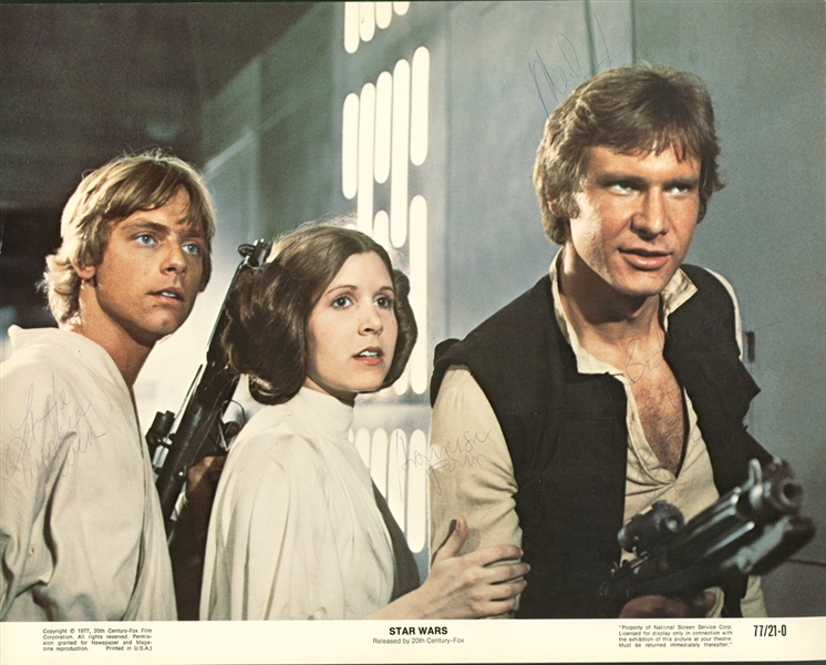 Harrison Ford, Mark Hamill & Carrie Fisher Ultra Rare Vintage Signed & Inscribed 11 x 14 Star Wars Lobby Card (Beckett/BAS Guaranteed)(Steve Grad Collection)