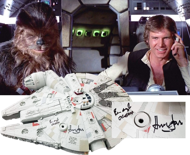 Harrison Ford & Peter Mayhew Signed Millennium Falcon Model Ship! (Beckett/BAS)